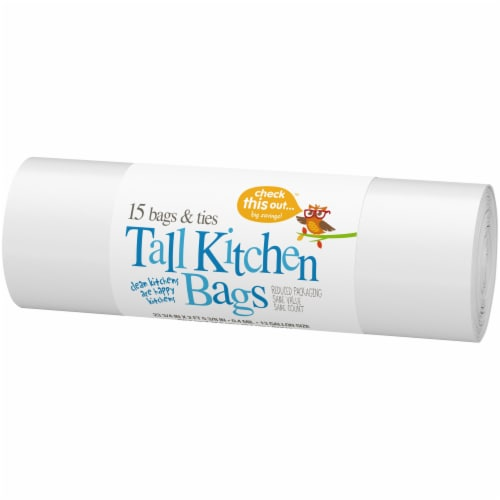 Check This Out™ 13 Gallon Tall White Kitchen Bags Perspective: right