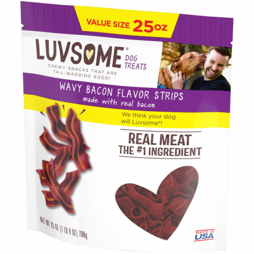 Luvsome® Wavy Bacon Flavor Strip Dog Treats Perspective: right