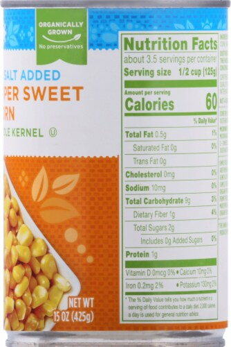 Simple Truth Organic® No Salt Added Super Sweet Whole Kernel Corn Perspective: right