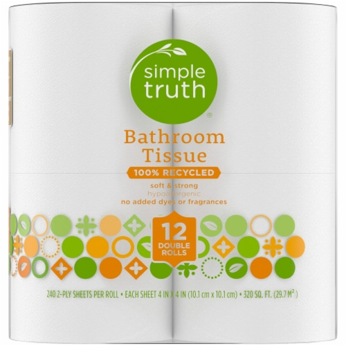 Simple Truth™ 100% Recycled Hypoallergenic Double Rolls Bathroom Tissue Perspective: right