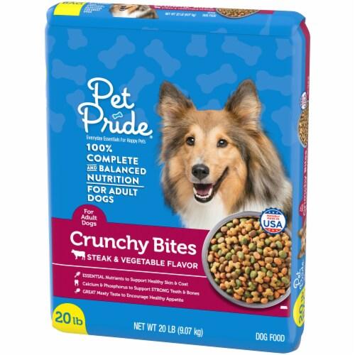 Pet Pride Steak & Vegetable Crunchy Bites Adult Dry Dog Food Perspective: right