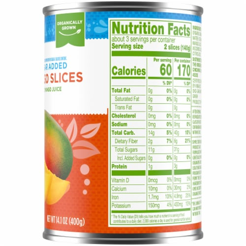 Simple Truth Organic® No Sugar Added Mango Slices in Organic Mango Juice Perspective: right