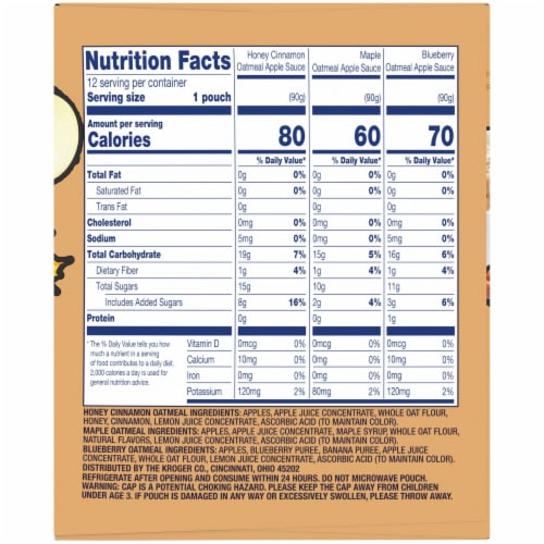 Kroger® Oatmeal Apple Sauce Pouch Variety Pack Perspective: right