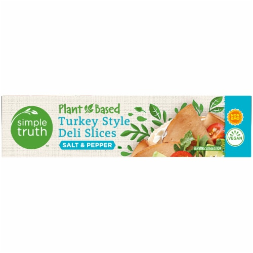 Simple Truth™ Plant-Based Salt & Pepper Turkey Style Deli Slices Box Perspective: right