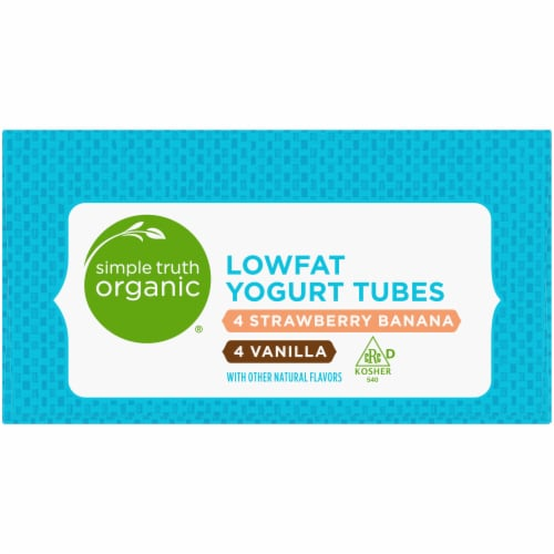 Simple Truth Organic® Strawberry Banana & Vanilla Lowfat Yogurt Tubes Perspective: right