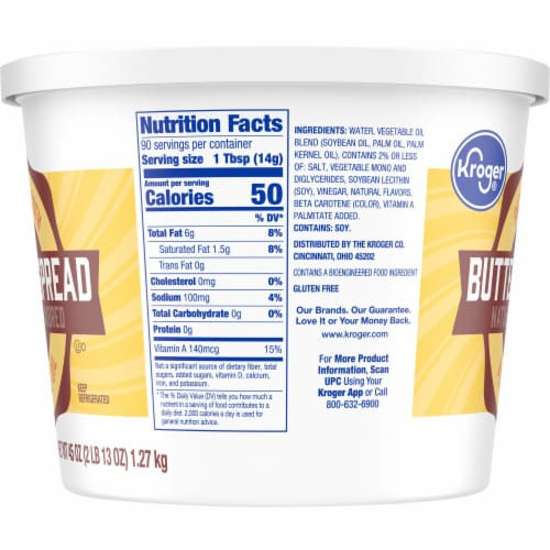Kroger 40% Vegetable Oil Buttery Spread Tub Perspective: right