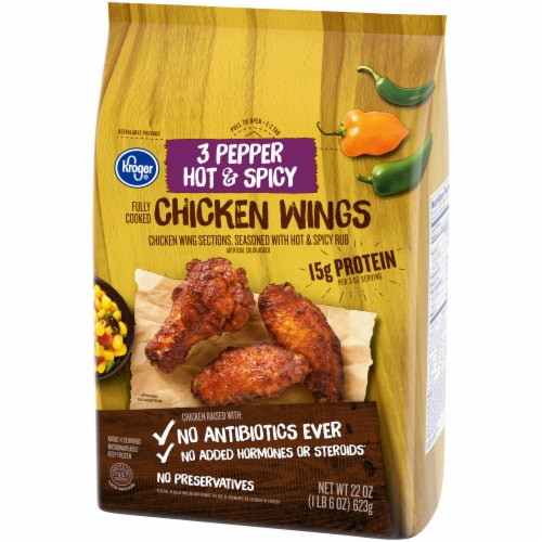 Kroger® 3 Pepper Hot & Spicy Fully Cooked Chicken Wings Perspective: right