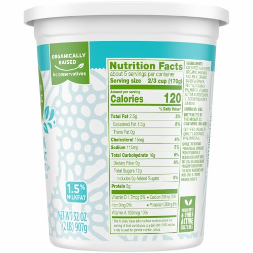Simple Truth Organic™ Lowfat Plain Yogurt Perspective: right