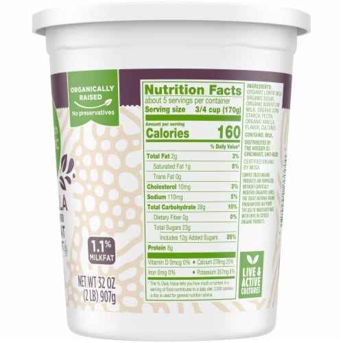 Simple Truth Organic™ Vanilla Lowfat Yogurt Perspective: right