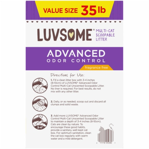 Luvsome® Advanced Odor Control Fragrance Free Multi-Cat Scoopable Litter Perspective: right