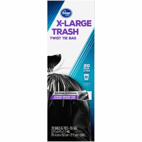 Kroger® X-Large Twist Tie 55 Gallon Trash Bags Perspective: right