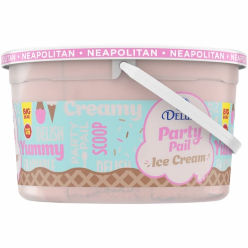 Kroger® Deluxe Party Pail Neapolitan Flavored Ice Cream Family Size Perspective: right