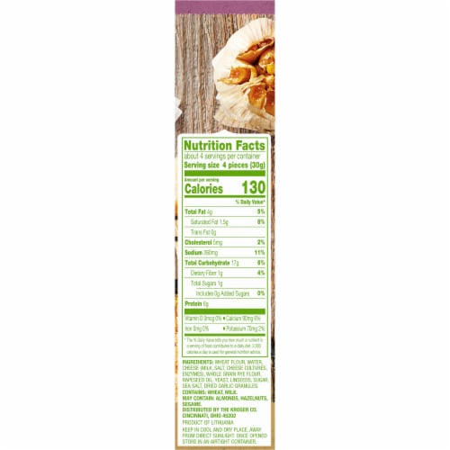 Simple Truth®  Cheese & Garlic Flatbread Crackers Perspective: right