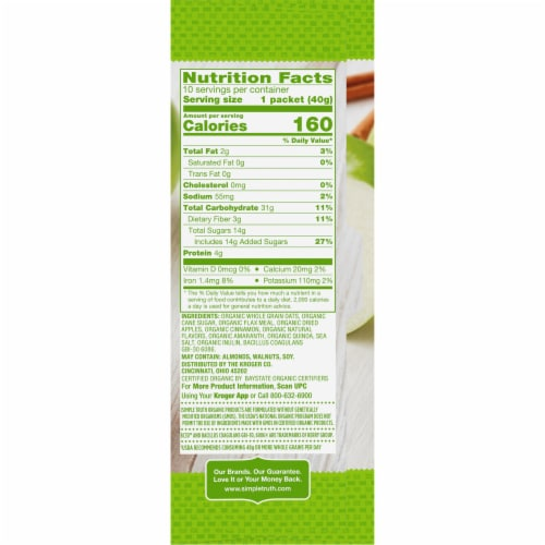 Simple Truth Organic® Probiotic Apple Cinnamon Instant Oatmeal Perspective: right