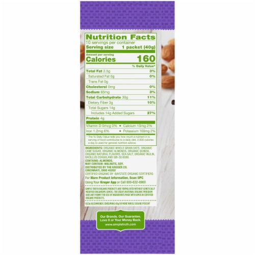 Simple Truth Organic Probiotic Almond Vanilla Instant Oatmeal Perspective: right