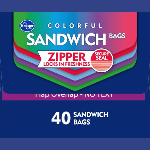 Kroger® Reclosable Colorful Assorted Sandwich Bags 40 Count Perspective: right