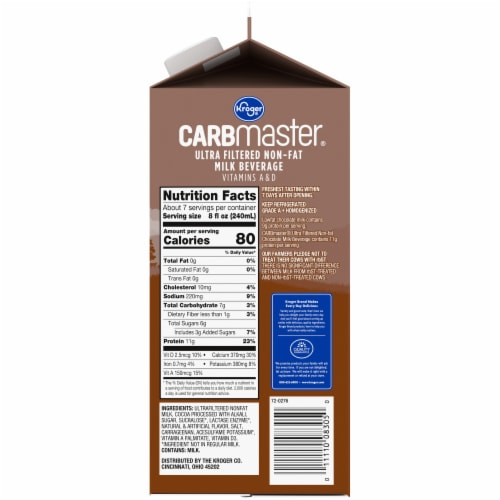 Kroger® CARBMaster® Lactose Free Non-Fat Chocolate Milk Perspective: right