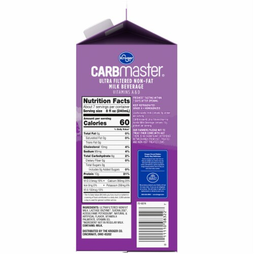 Kroger® Carbmaster® Lactose Free Non-Fat Vanilla Milk Beverage Perspective: right