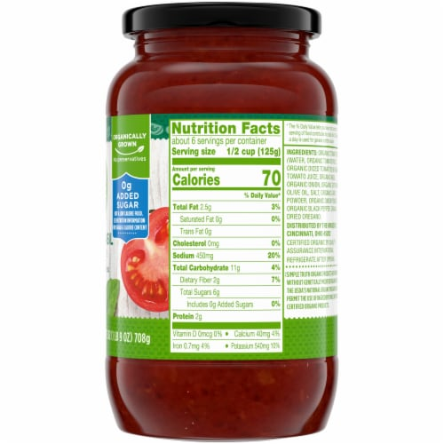 Simple Truth Organic® Tomato Basil Pasta Sauce Perspective: right