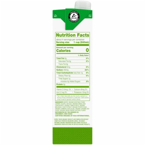 Simple Truth Organic® Fat Free Vegetable Stock Perspective: right
