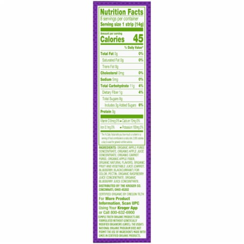 Simple Truth Organic Raspberry & Blueberry Fruit & Veggie Blend Strips Perspective: right