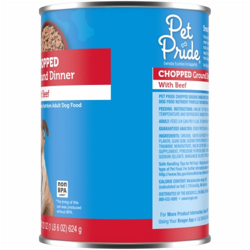 Pet Pride Chopped Ground Dinner with Beef Perspective: right