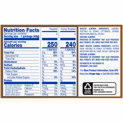 Kroger® Roasted Almonds Salted with Sea Salt Variety Pack Perspective: right