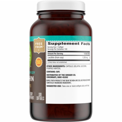 Simple Truth® Lecithin Softgels 1200mg Perspective: right