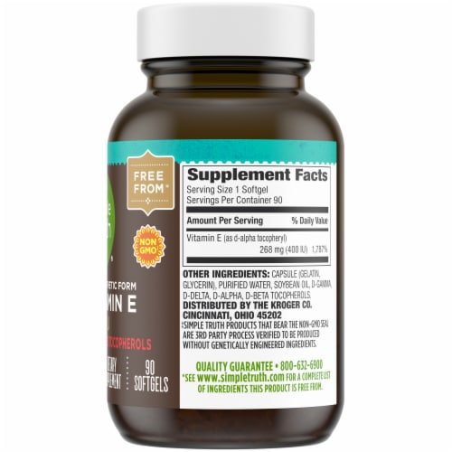 Simple Truth® Non-Synthetic Form Vitamin E Softgels 400IU Perspective: right