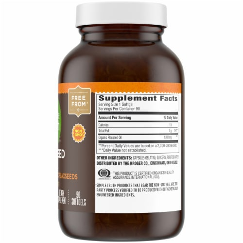 Simple Truth® Flaxseed Oil Softgels 1000 mg Perspective: right