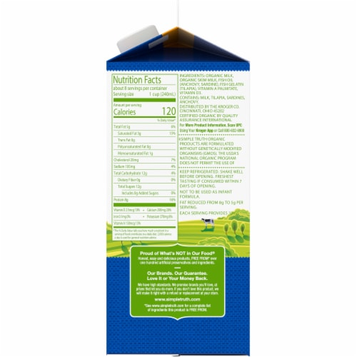 Simple Truth Organic™ 2% Reduced Fat Milk with DHA Omega-3 Perspective: right