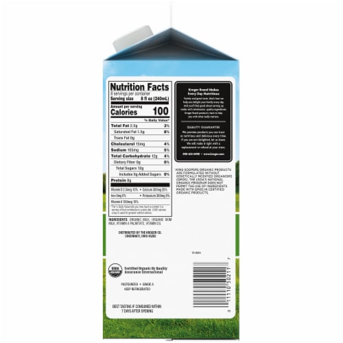 King Soopers® City Market® Organic 1% Low Fat Milk Perspective: right
