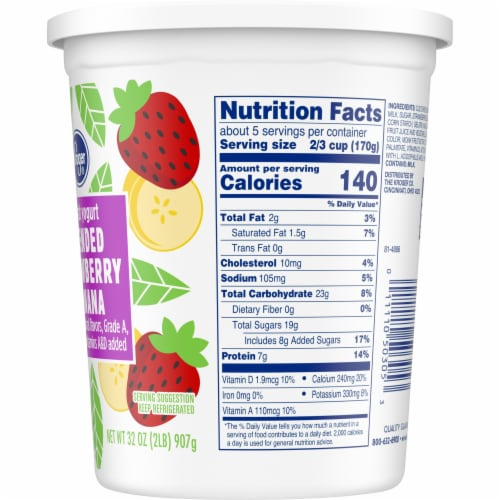 Kroger® Blended Strawberry Banana Lowfat Grade A Yogurt Perspective: right