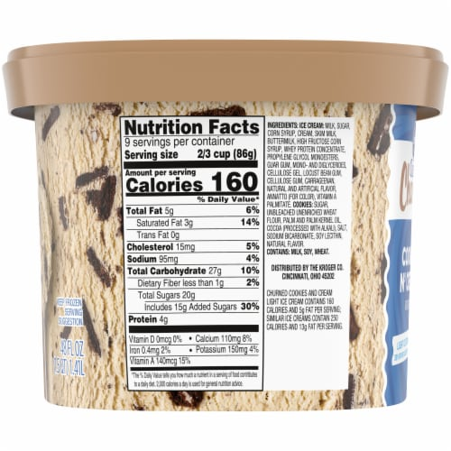 Kroger® Deluxe Cookies & Cream Churned Light Ice Cream Perspective: right