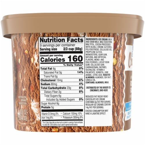 Kroger® Deluxe Churned Lactose Free No Sugar Added Reduced Fat Rocky Road Ice Cream Perspective: right