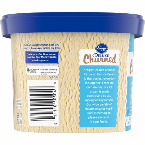 Kroger® Deluxe Churned Lactose Free No Sugar Added Reduced Fat Vividly Vanilla Ice Cream Perspective: right
