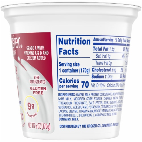 Kroger® CarbMaster® Gluten Free Cherry Lowfat Yogurt Perspective: right