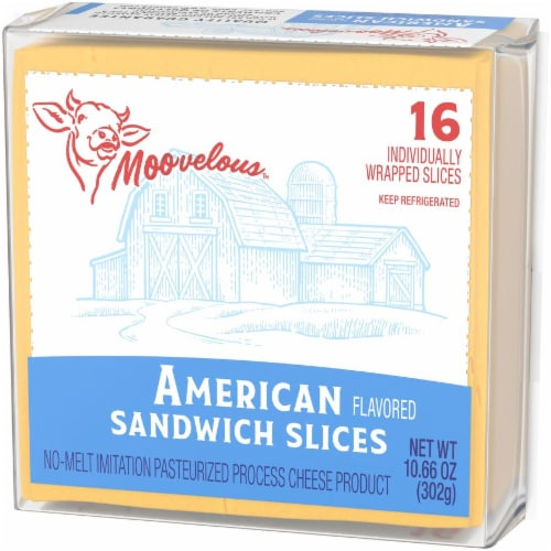 Moovelous American Cheese Sandwich Slices Perspective: right