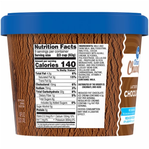 Kroger® Deluxe Churned Lactose Free Chocolate Reduced Fat Ice Cream Perspective: right