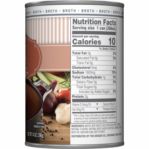Kroger® 99% Fat Free Beef Broth Can Perspective: right