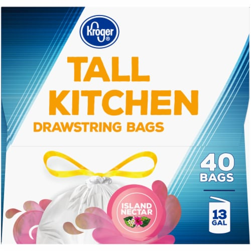Kroger® Island Nectar Scented 13 Gallon Tall Kitchen Drawstring Trash Bags Perspective: right