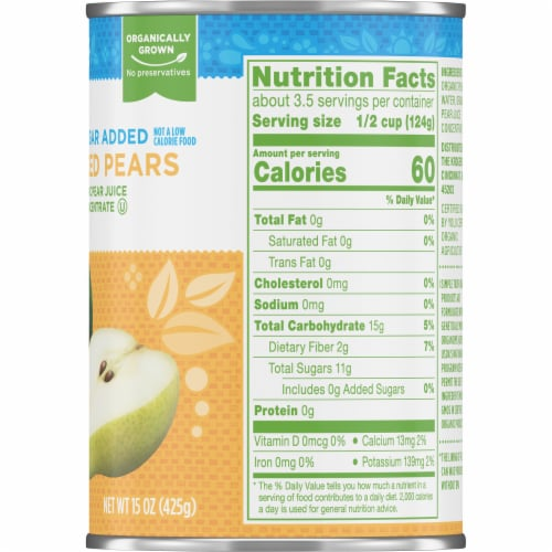 Simple Truth Organic® No Sugar Added Sliced Pears Perspective: right