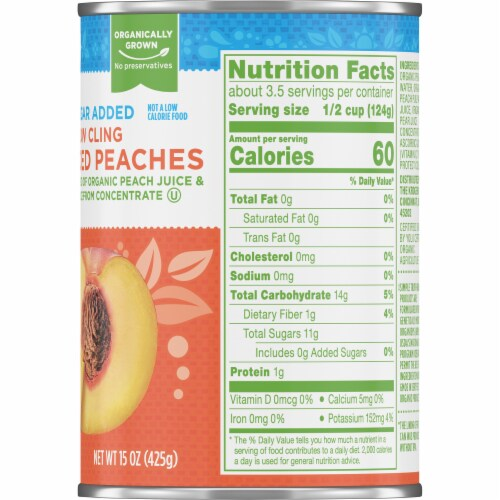 Simple Truth Organic™ No Sugar Added Yellow Cling Sliced Peaches Perspective: right