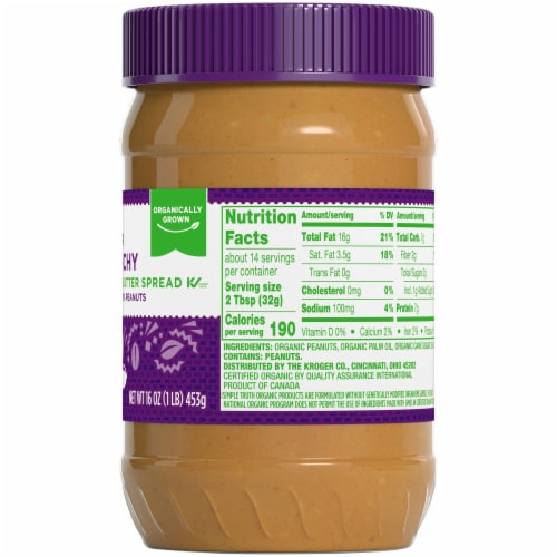 Simple Truth Organic® No Stir Crunchy Peanut Butter Spread Perspective: right