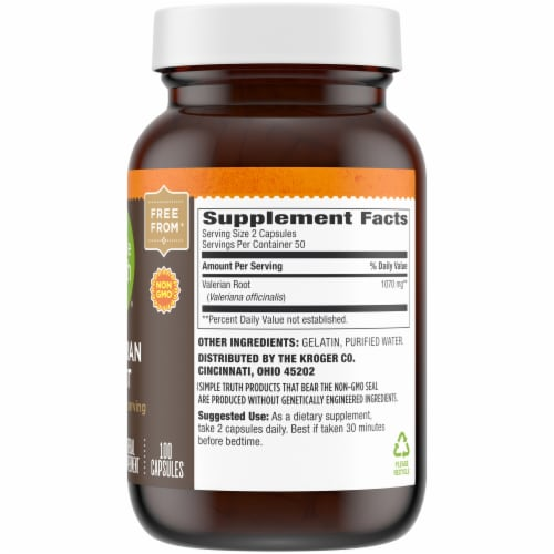 Simple Truth® Valerian Root 1070mg Capsules Perspective: right
