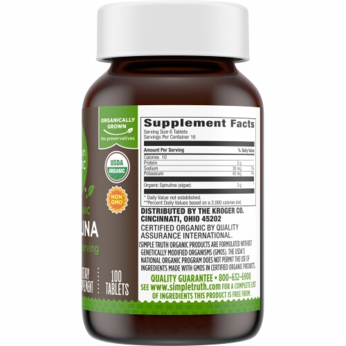 Simple Truth Organic® 100% Organic Spirulina Tablets 500mg Perspective: right