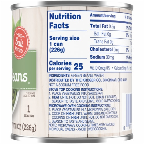 Kroger® No Salt Added Cut Green Beans Perspective: right