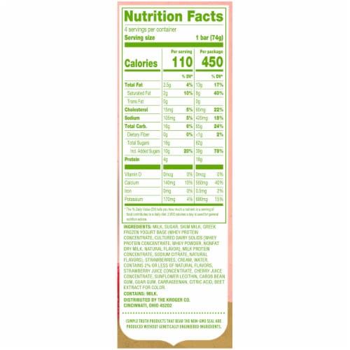 Simple Truth™ Strawberry Vanilla Greek Frozen Yogurt Bars 4 Count Perspective: right