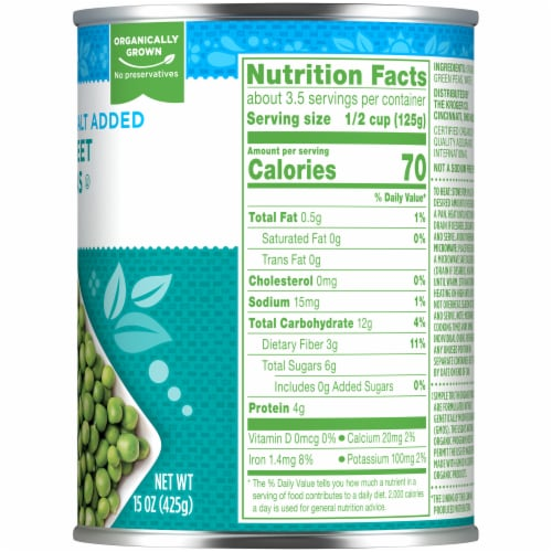 Simple Truth Organic™ No Salt Added Sweet Peas Perspective: right