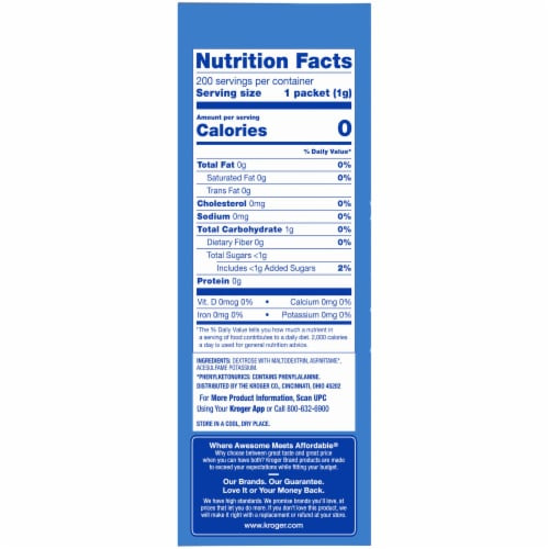 Kroger® Zero Calorie Sweetener with Aspartame Packets Perspective: right